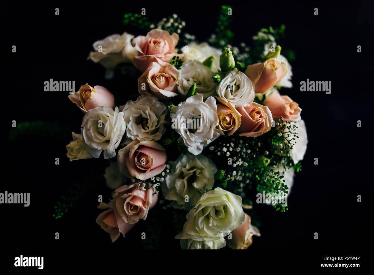 Wedding Bouquet With Fresh Flowers On Dark Background Stock Photo