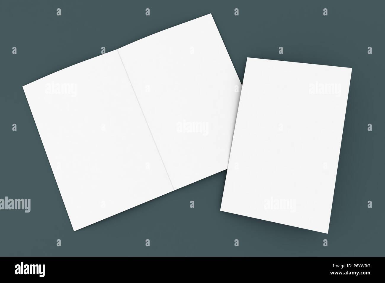 half-fold mockup brochure 3d rendering Stock Photo
