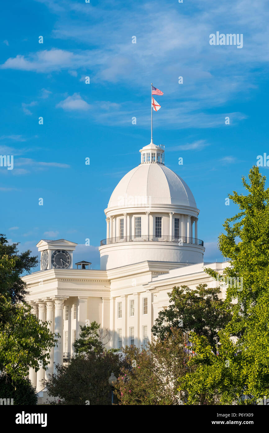 United States, Alabama, Montgomery. Alabama State Capitol building, former First Confederate Capitol, built 1850–51. Stock Photo