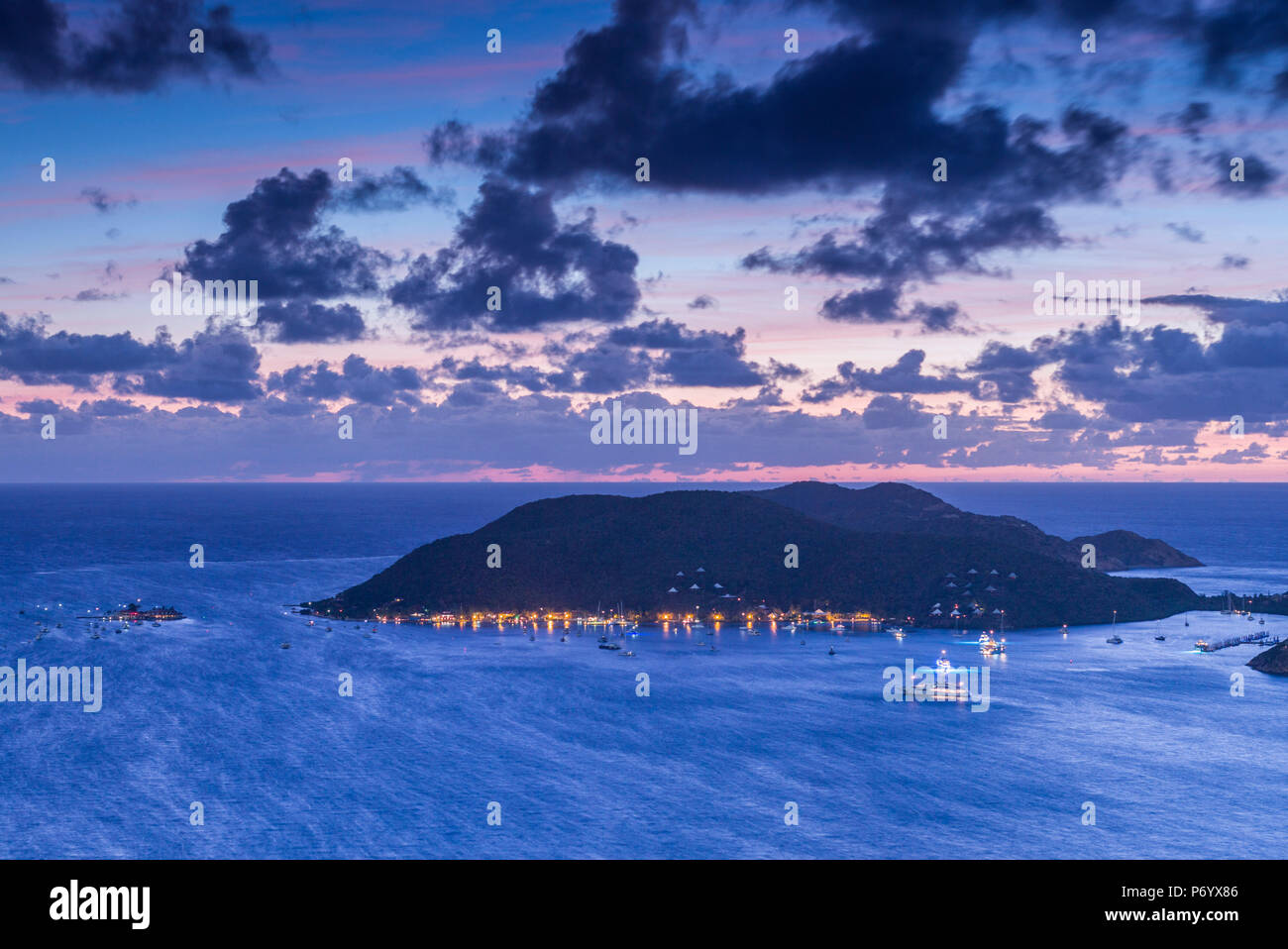 British Virgin Islands, Virgin Gorda, North Sound of North Sound and Bitter End Yacht Club from Fanny Hill, dawn - Stock Image
