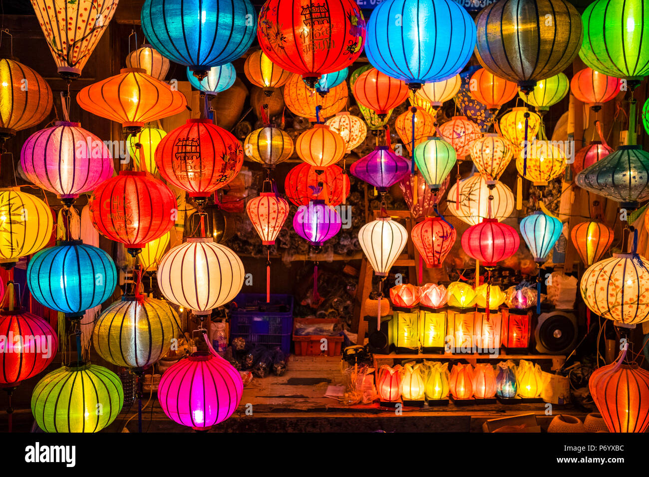Hand-made silk lanterns for sale on the street in Hoi An, Quang Nam Province, Vietnam - Stock Image