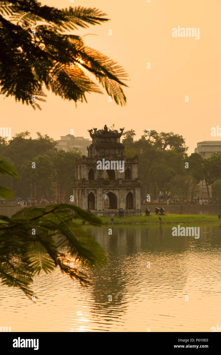 Turtle Tower (Thap Rua) on Hoan Kiem Lake at dawn, Hanoi, Vietnam - Stock Image
