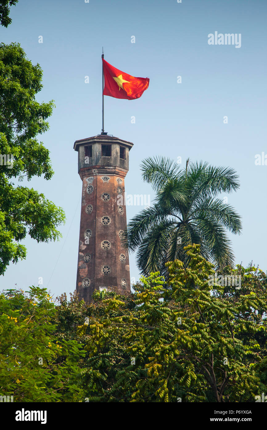 Flag Tower, Vietnam Military History Museum, Ba Dinh district, Hanoi, Vietnam - Stock Image