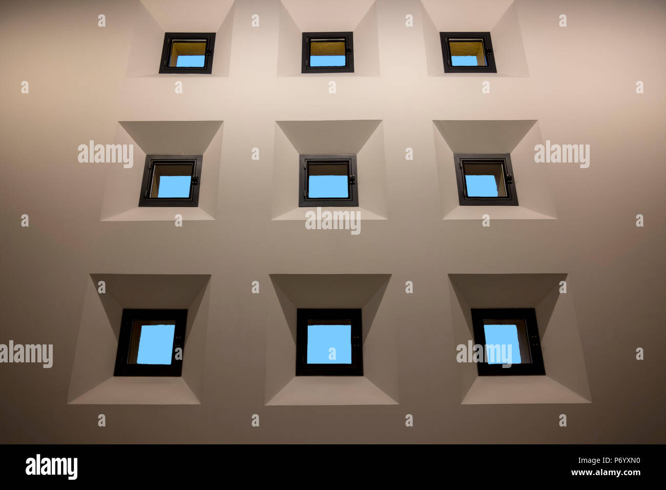 Wall with Small Windows. - Stock Image