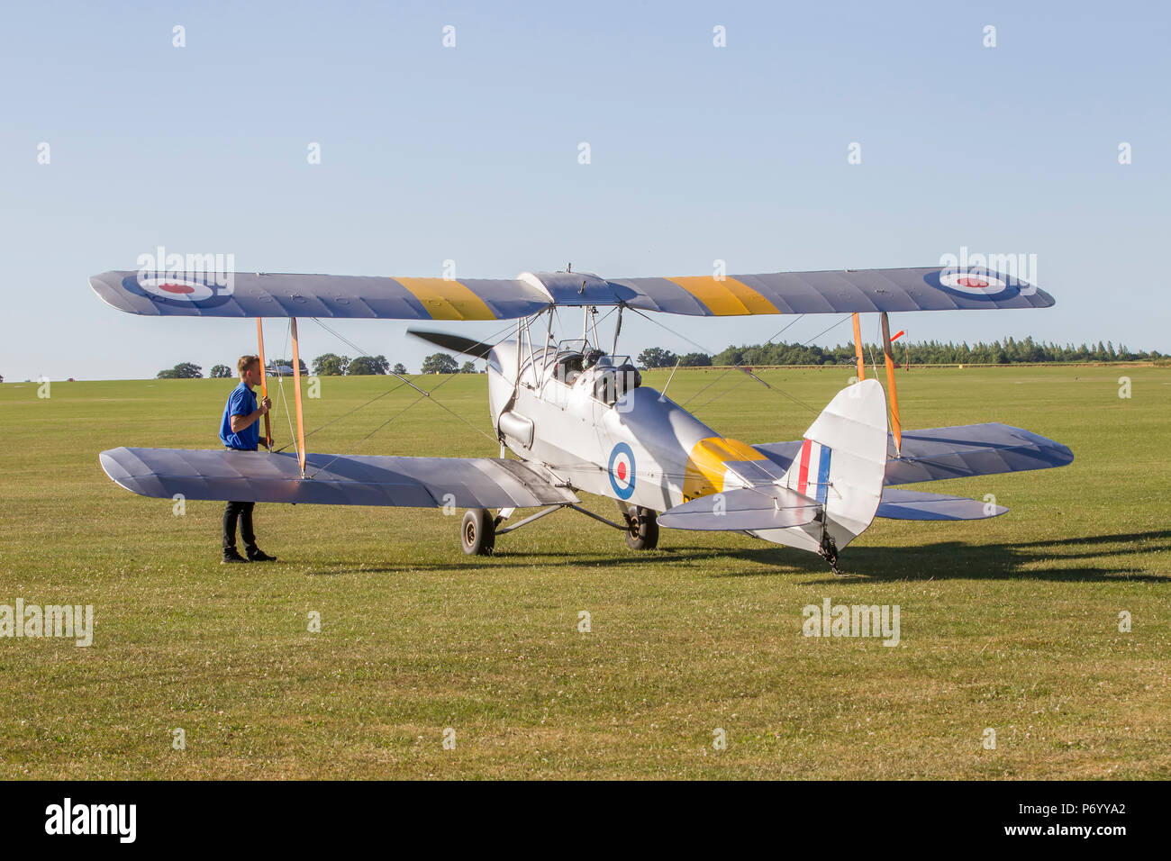 DH82 Tiger Moth static at The Blades Summer  Ball, Sywell aerodeome, Northamptonshire. - Stock Image