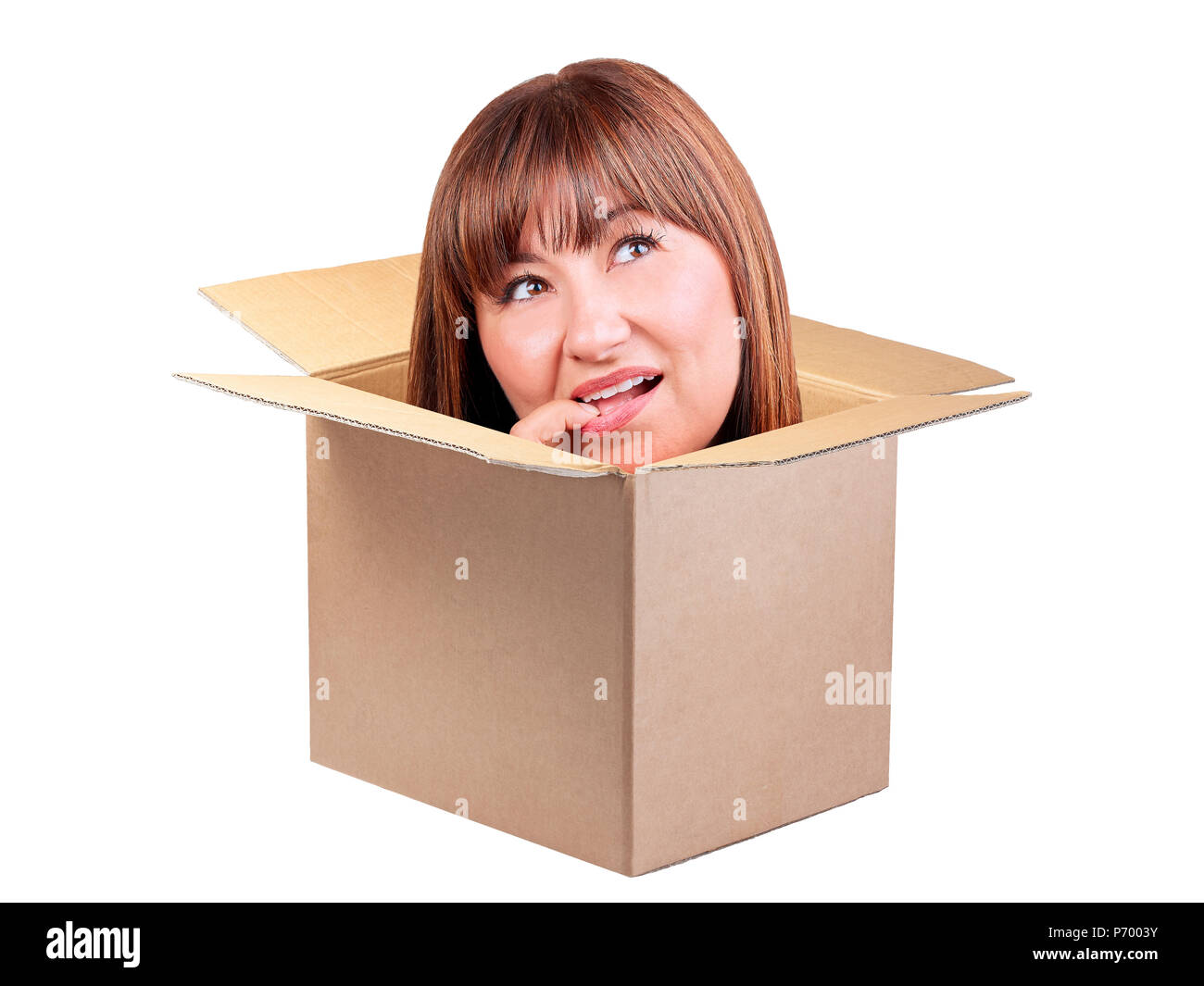Brunette woman thinking out box isolated - Stock Image