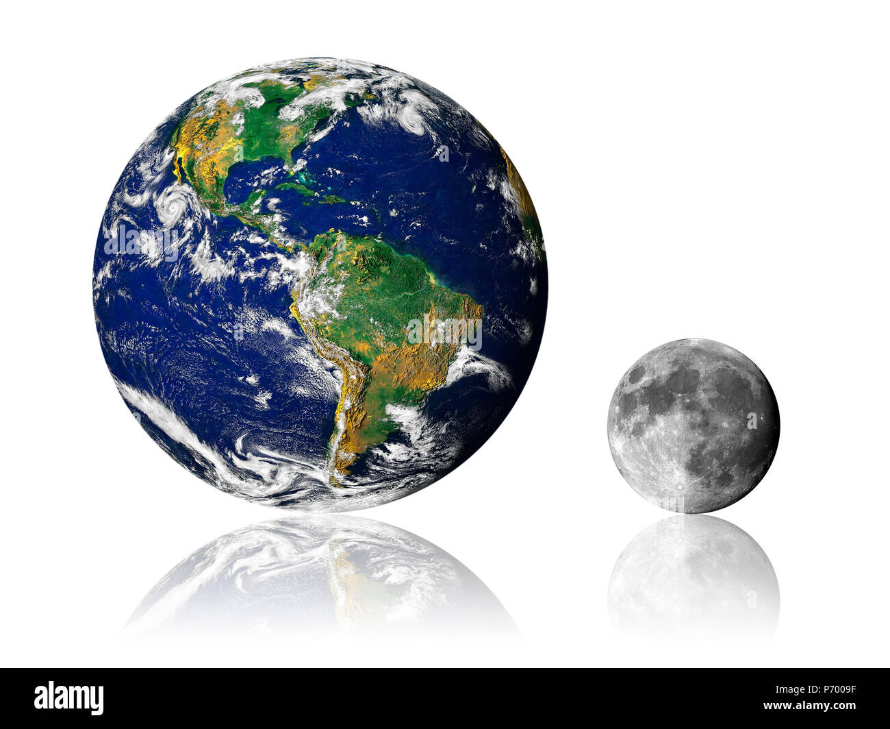 Earth and Moon with reflection on white background. Earth image provided by NASA - Stock Image