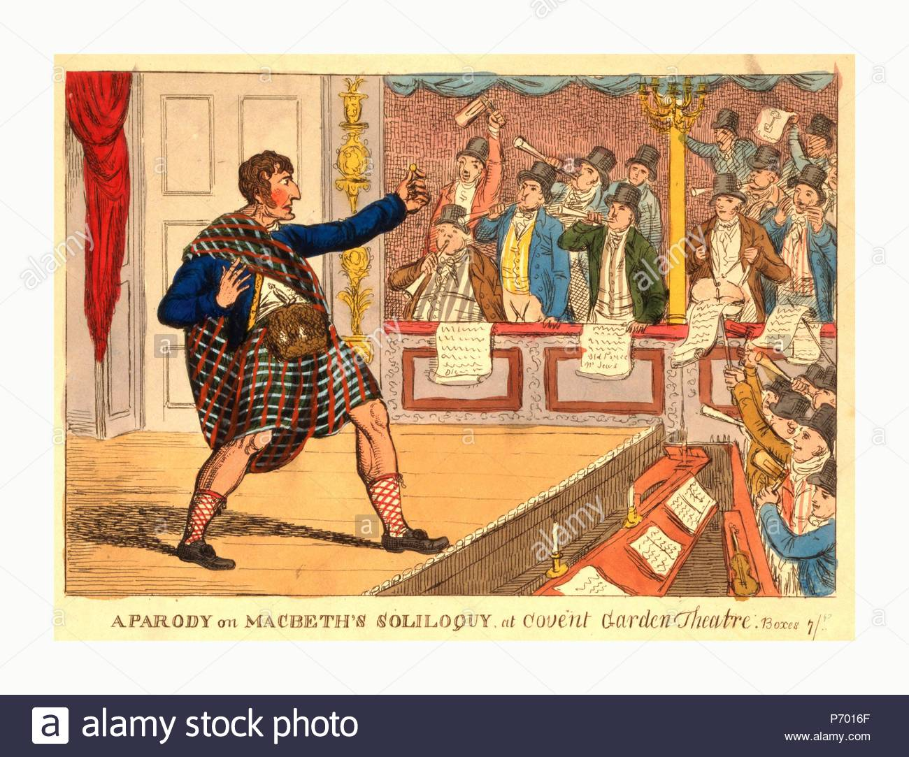 A parody on Macbeth's soliloquy at Covent Garden Theatre, engraving 1809, Kemble as Macbeth, in Highland dress, declaims before the footlights; holding out a coin in his left hand, he staggers back, left leg forward. - Stock Image