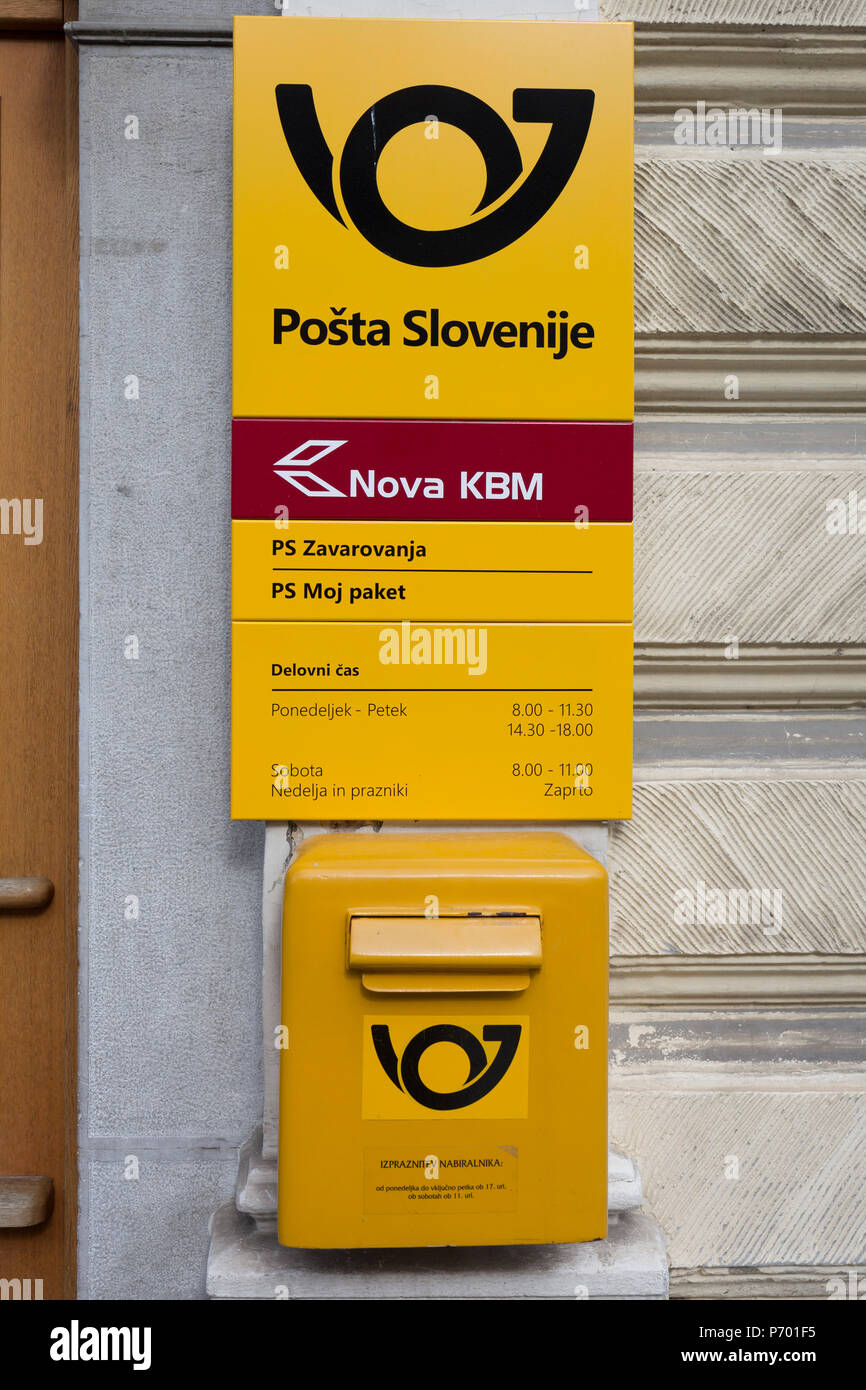 A post box from the Slovenian postal service (Posta Slovenije outside the post office in rural Slovenia, on 26th June 2018, in Kamnik, Slovenia. - Stock Image