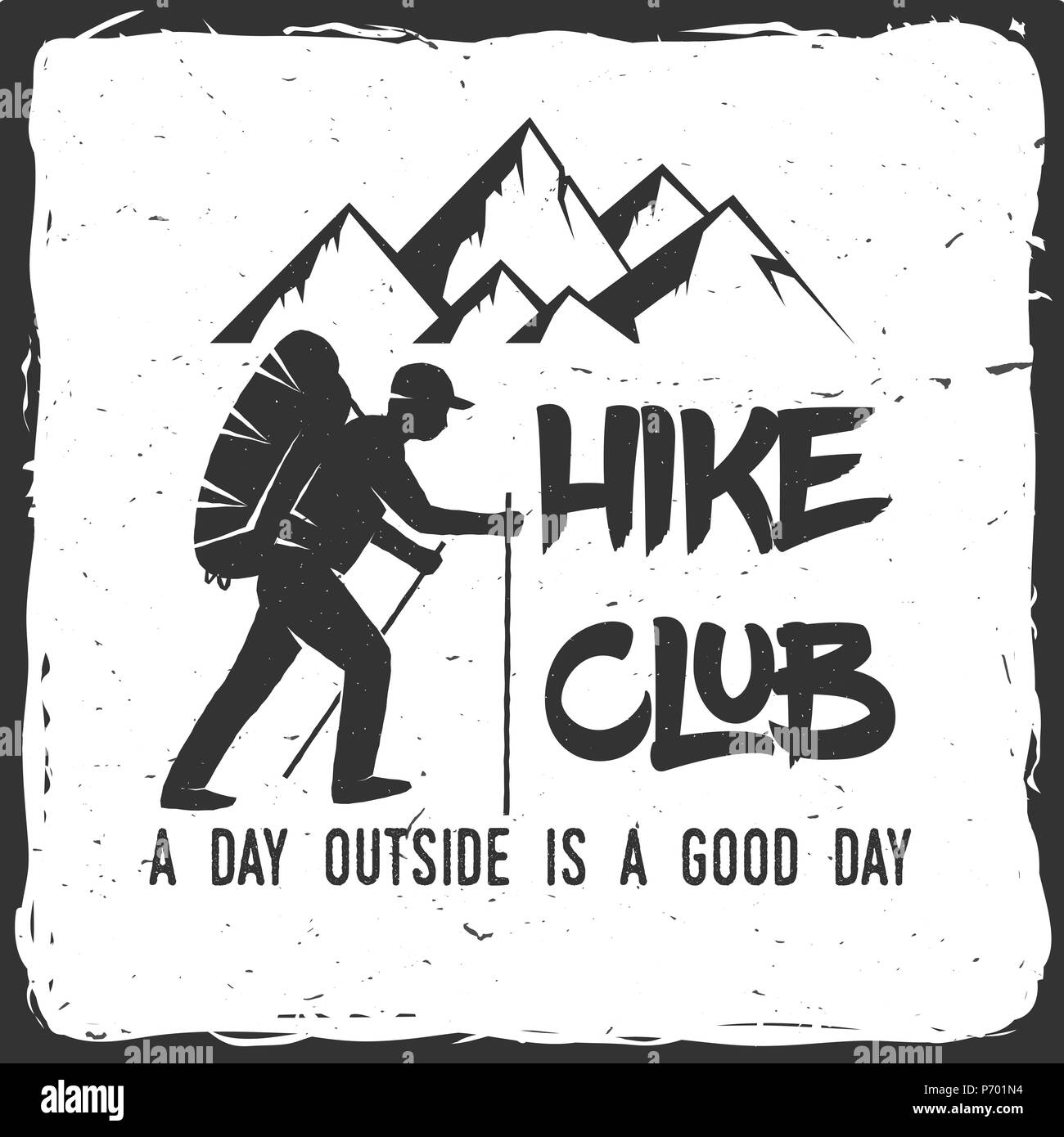 Hiking club badge with text A day outside is a good day. Mountains related typographic quote. Vector illustration. Concept for shirt or logo, print, s - Stock Vector