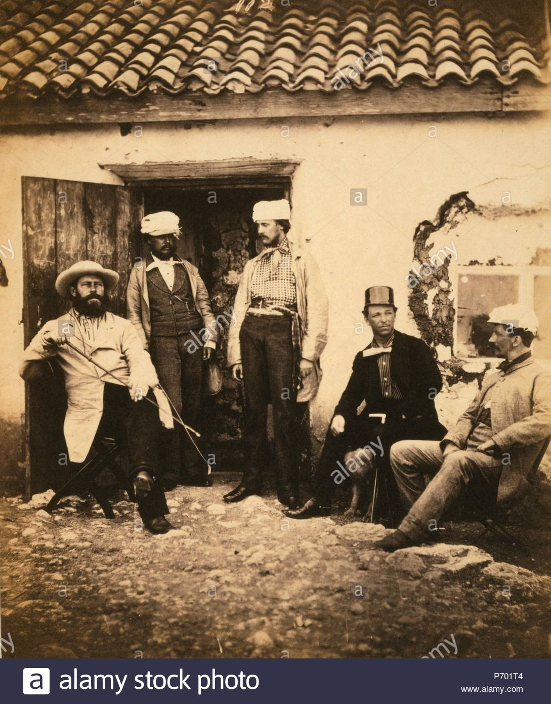 Railway officials, messrs. Swan, Cadell, Middleton, Howse, & Kellock, Crimean War, 1853-1856, Roger Fenton historic war campaign photo. - Stock Image