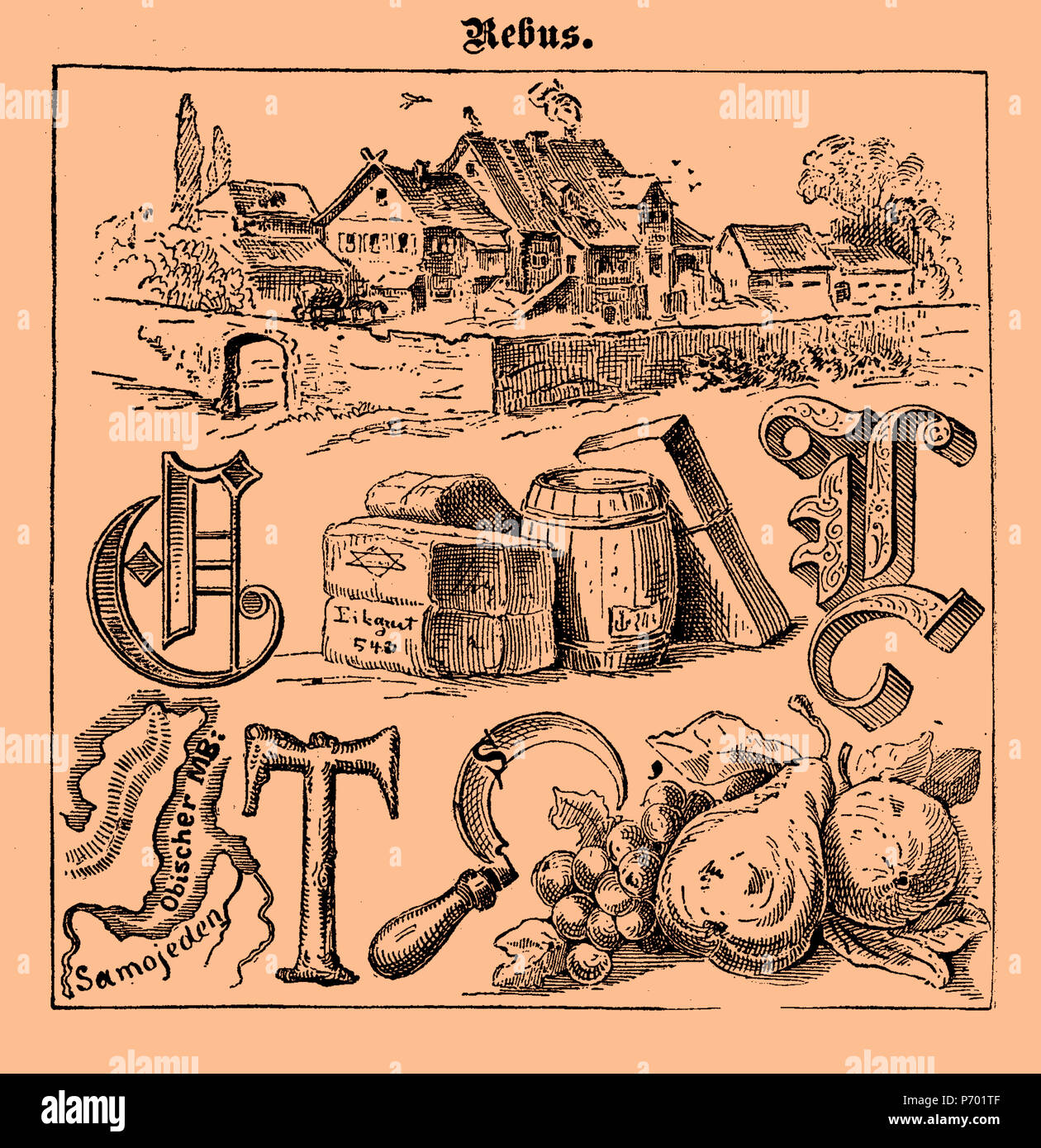 Illustrated rebus game printed on a 19th century Swiss magazine in German language - Stock Image