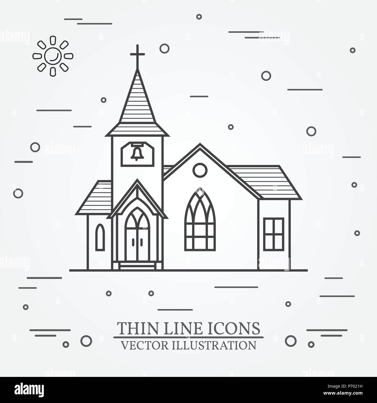 Vector thin line icon church. For web design and application interface, also useful for infographics. Vector illustration. - Stock Vector