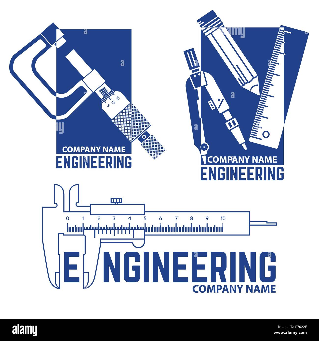 set of engineering company logo template on the white background
