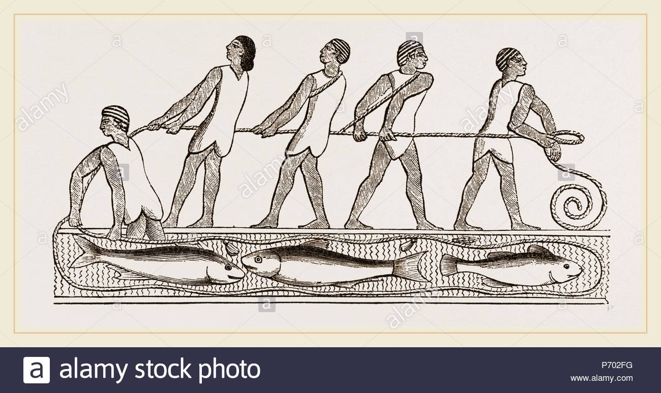 Ancient Egyptians fishing with drag-net, Egypt. - Stock Image
