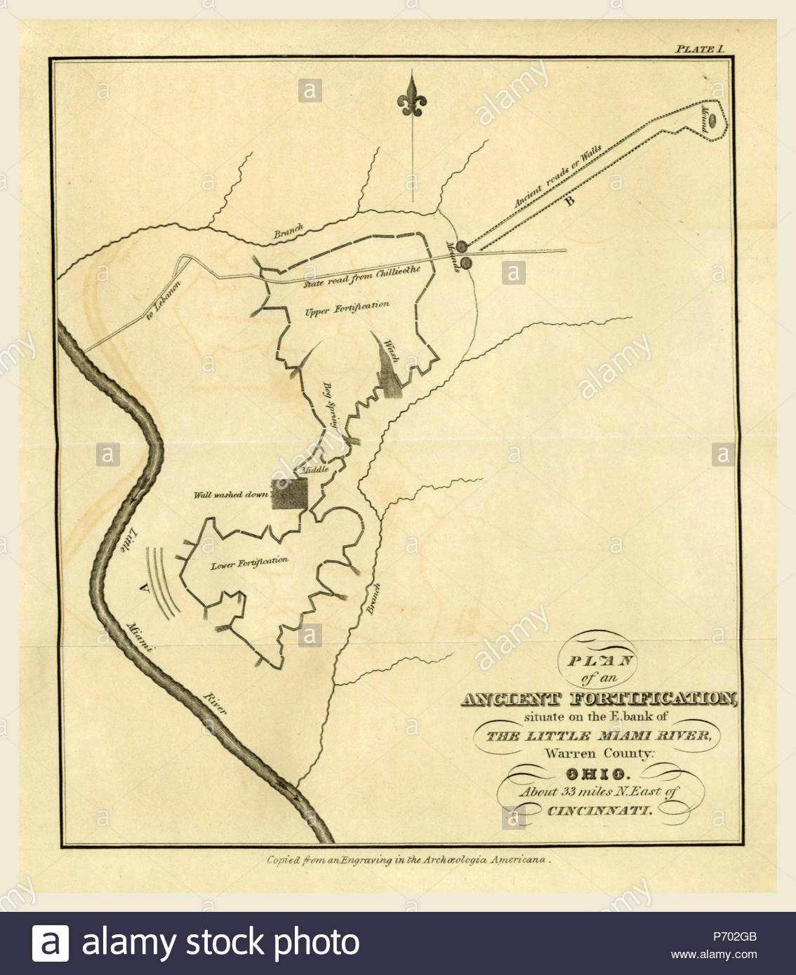 Map Of An Ancient Fortification On The Bank Of The Little Miami - Miami-us-map