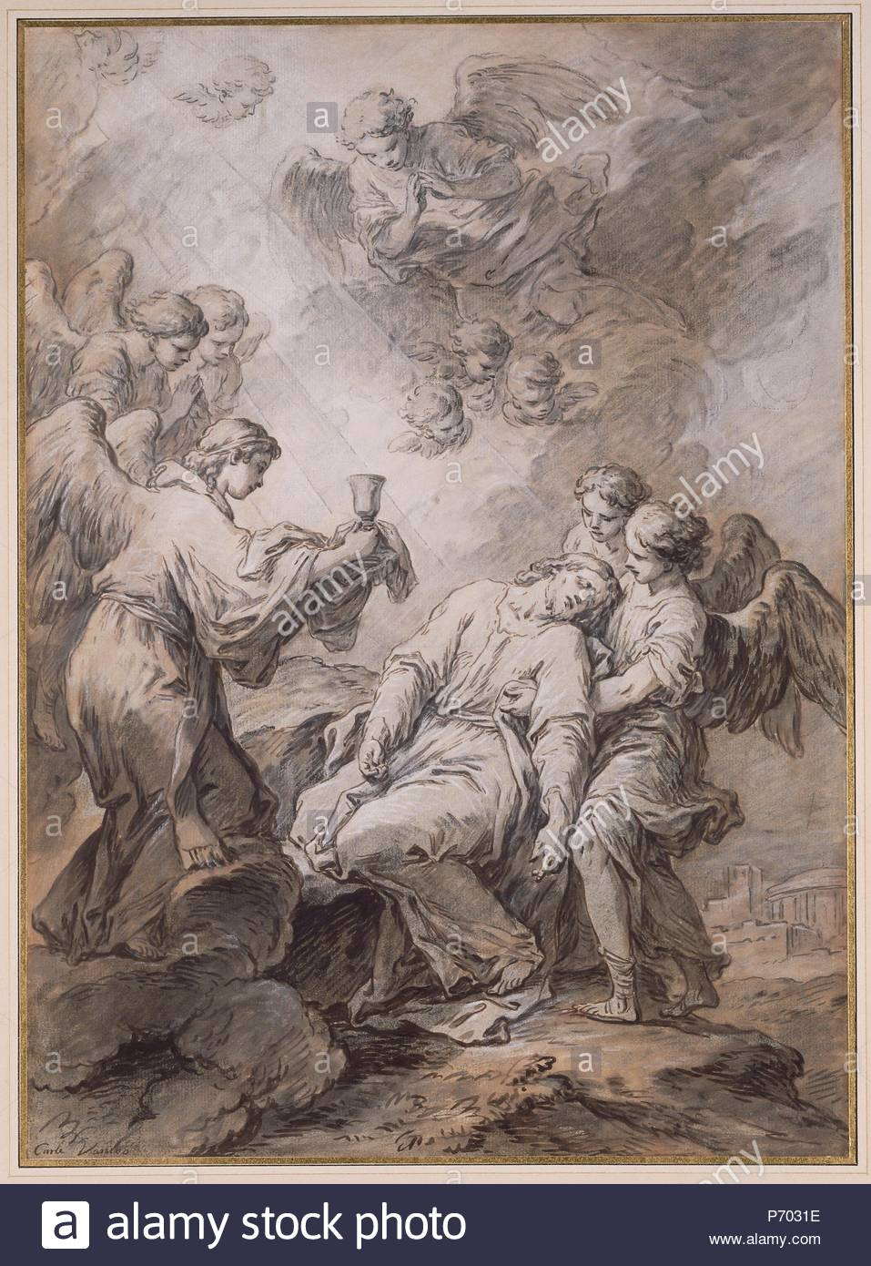 The Agony in the Garden; Carle Vanloo, French, 1705 - 1765; about 1760; Pen  and brown ink, brown and gray wash, heightened with white gouache, ...