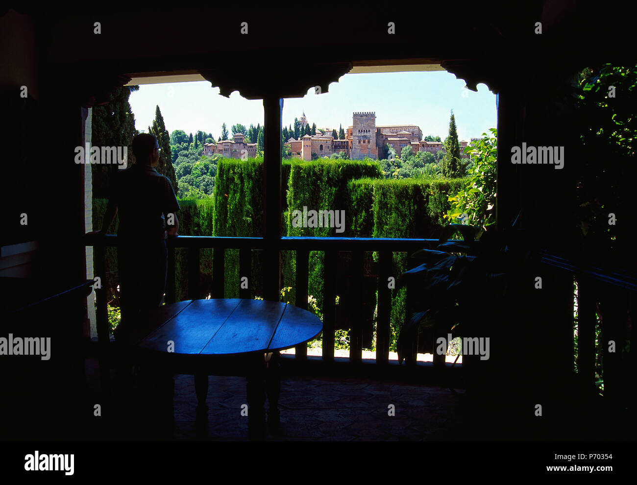 Balcony and view of the Alhambra. Granada, Spain. - Stock Image