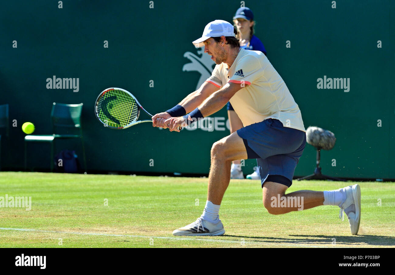 Mischa Zverev (GER) playing in the final of the Nature Valley International, Eastbourne 30th June 2018; backhand; double handed backhand; - Stock Image
