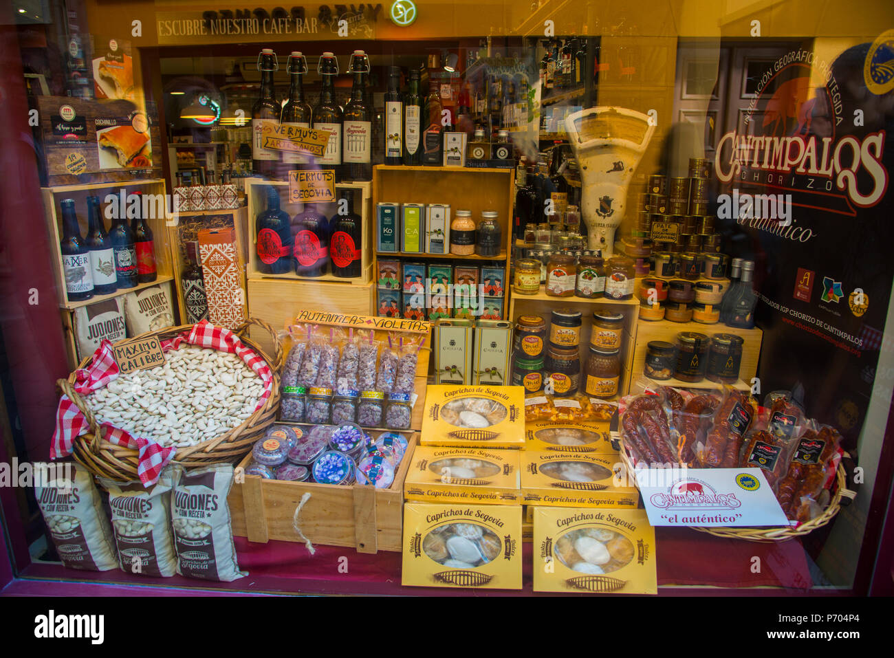 Typical products in a shop window. Segovia, Spain. Stock Photo