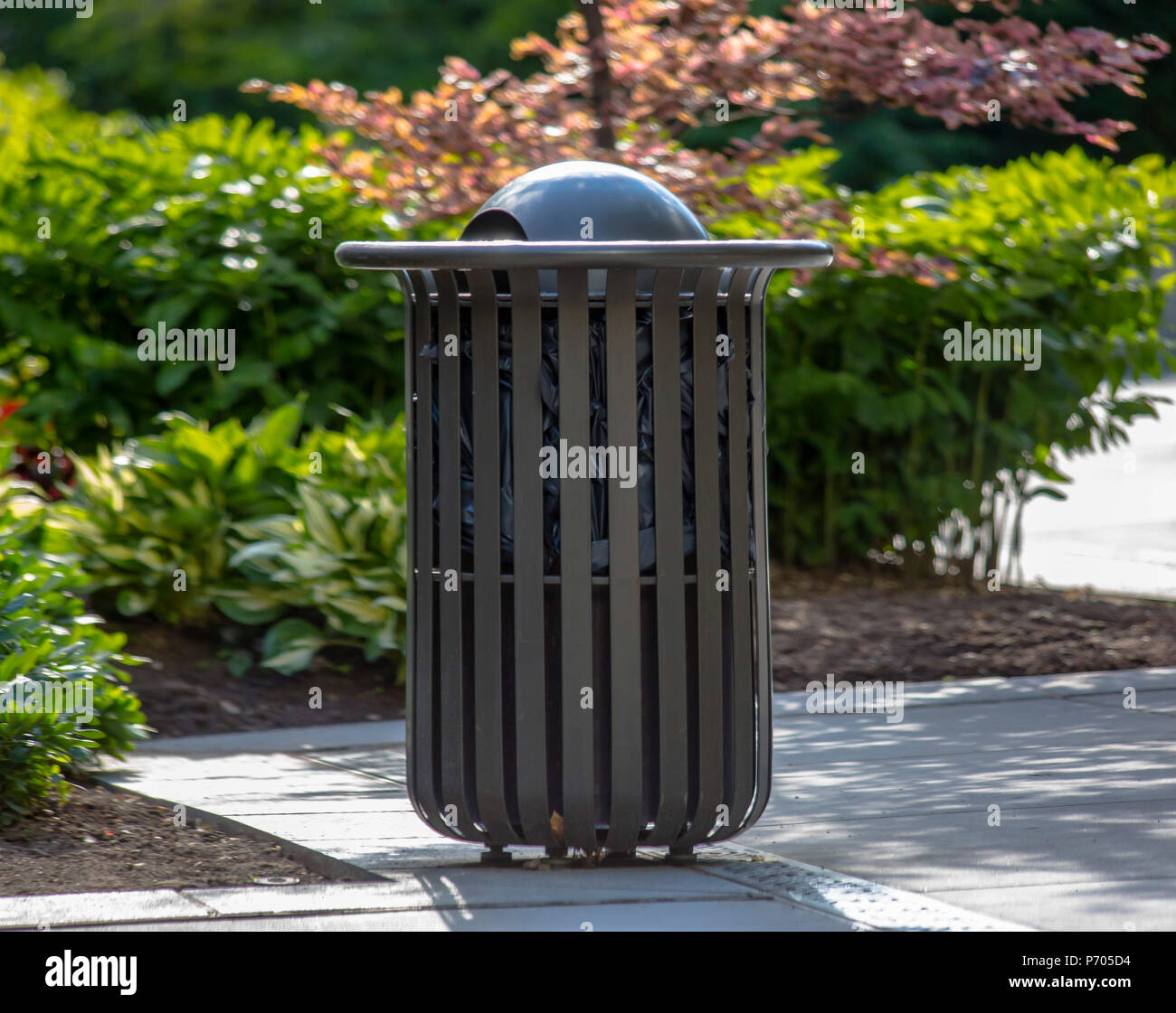 Simple public trash can at Temple Square - Stock Image