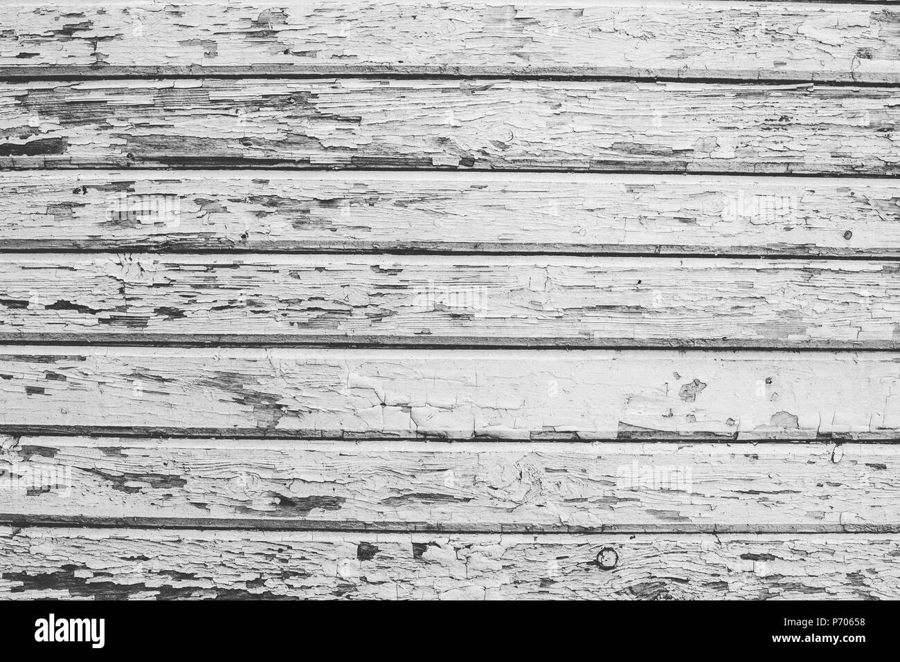 Old wooden horizontal planks texture with scratches and cracks. Wooden background for design - Stock Image