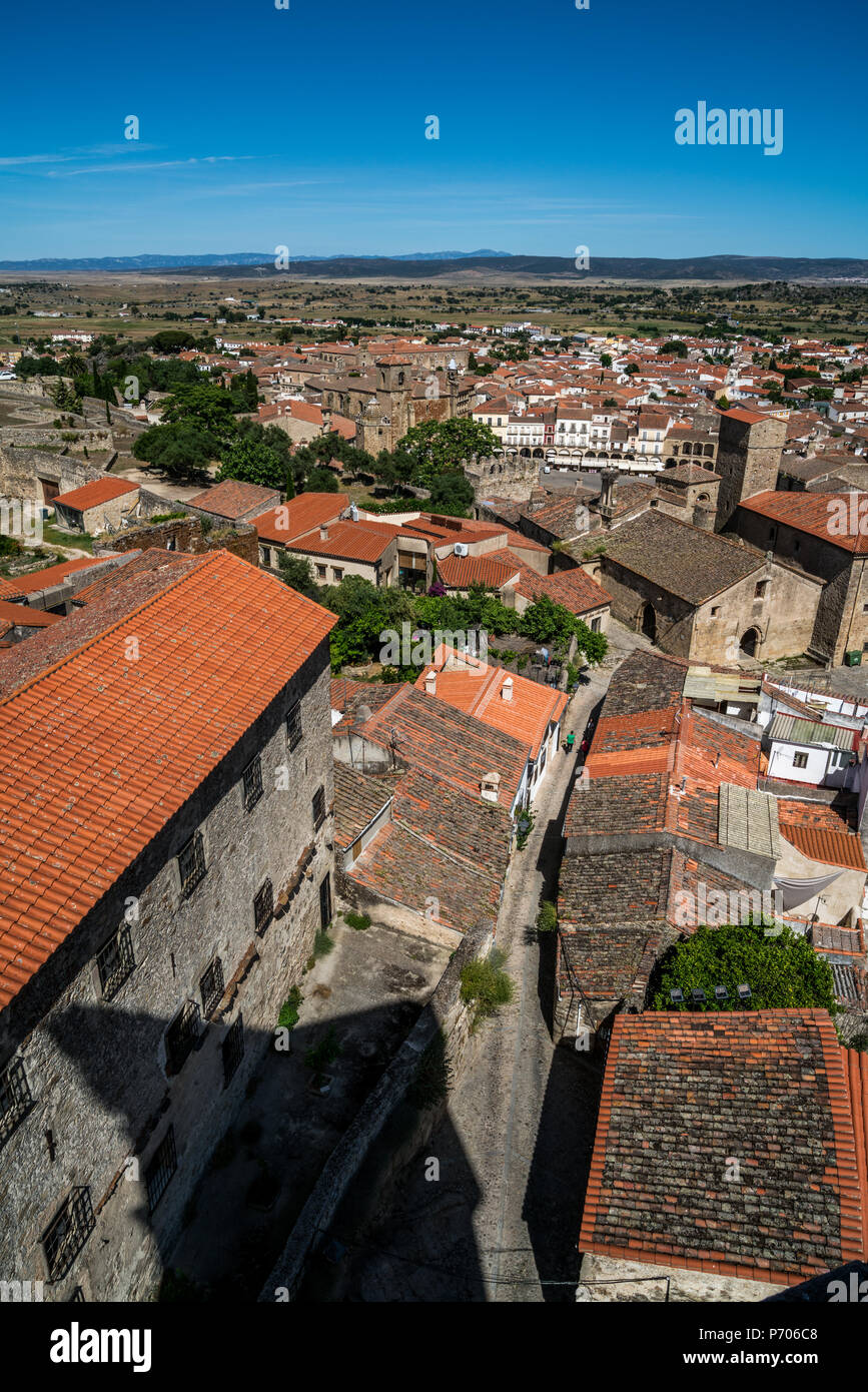 View of Plaza Mayor and Alcazar de los Chaves in Trujillo, Extremadura, Spain from a side srteet - Stock Image