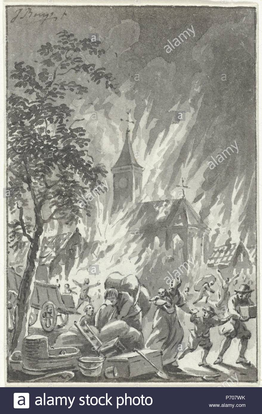 Heavy fire Hilversum The Netherlands, June 25, 1766, Jacobus Buys, 1766 -  1801.
