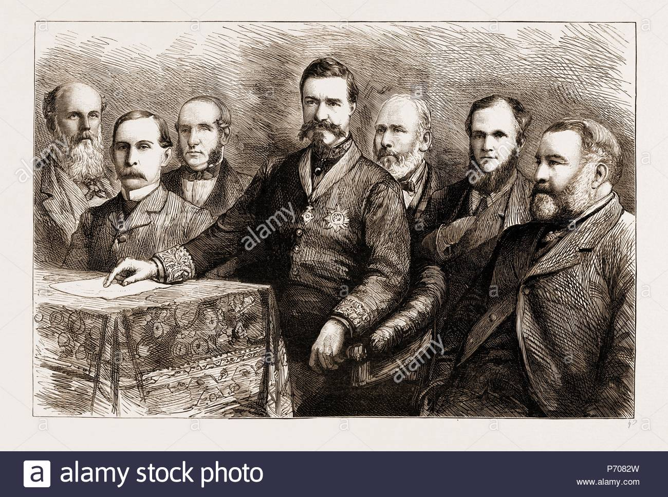 THE SOCIAL SCIENCE CONGRESS AT HUDDERSFIELD: A PORTRAIT GROUP, UK, 1883; MR. C.E. HOWARD VINCENT, DIRECTOR OF CRIMINAL INVESTIGATORS, President of the Repression of Crime Section, SIR RICHARD TEMPLE, BART., G.C.S.I., LL.D., President of the National Association for the Promotion of Social Science, MR. T. PRIDGIN TEALE, F.R.C.S., President of the Health Section, MR. WILLIAM BARBER, Q.C., President of the International and Municipal Law Section, MR. FRANCIS SHARPE POWELL, President of the Education Section, MR. J.E. THOROLD ROGERS, M.P., President of the Economy and Trade Section, SIR RUPERT A.  - Stock Image