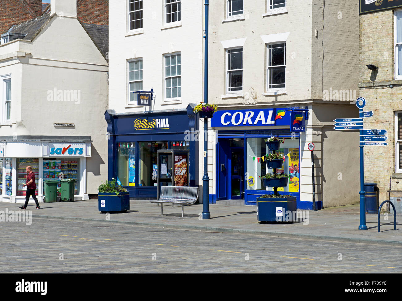 Adjacent betting shops - William Hill & Coral - Boston, Lincolnshire, England UK - Stock Image