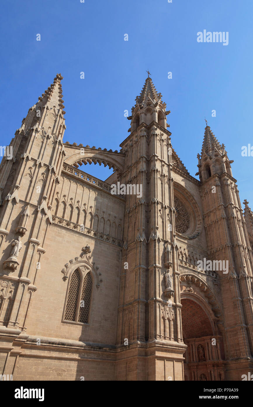 Spain, Balearic Islands, Mallorca, Palma de Mallorca, Cathedral (La Seu) - Stock Image