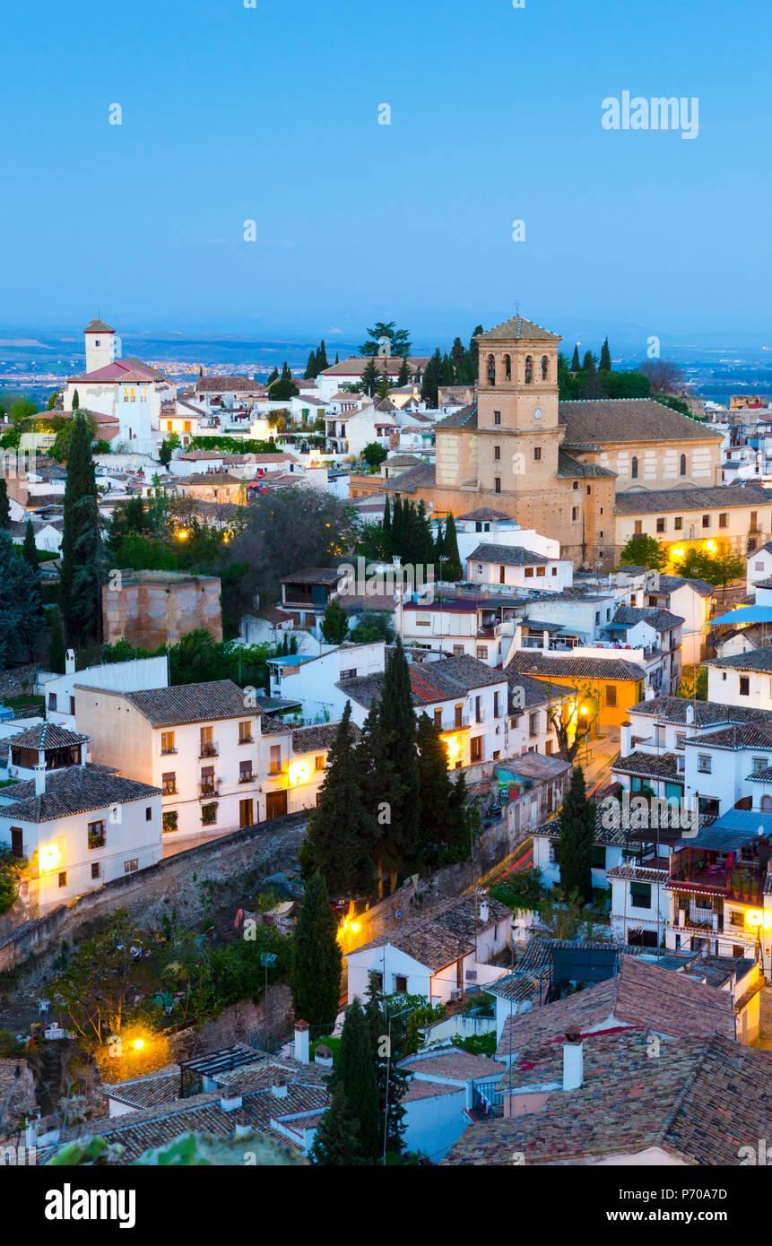 Spain, Andalucia, Granada Province, Granada, Sacromonte and Albaicin Districts, left is Iglesia de San Nicolas (Church of St. Nicolas), right is Iglesia del Salvador ( Church of the Saviour) - Stock Image