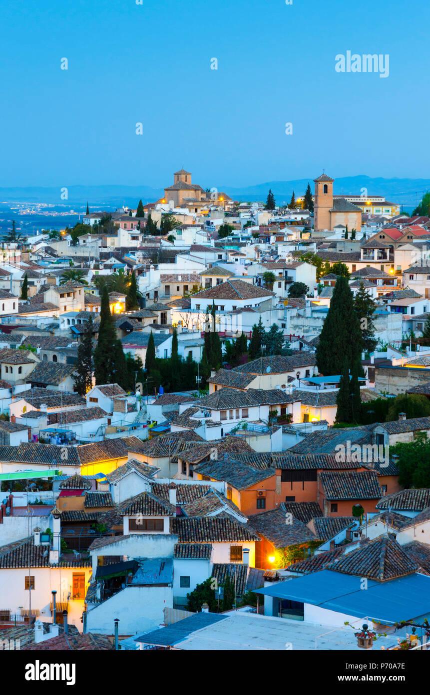 Spain, Andalucia, Granada Province, Granada, Sacromonte and Albaicin Districts, centre is Iglesia de San Cristobal (Church of St. Christopher) and right Iglesia de San Bartolome (Church of Bartholomew) - Stock Image