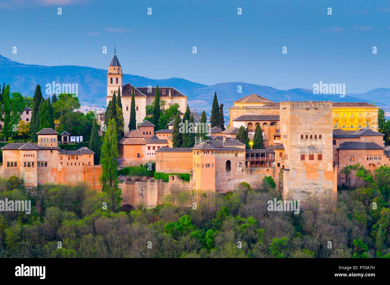 Spain, Andalucia, Granada Province, Granada, Alhambra Palace - Stock Image