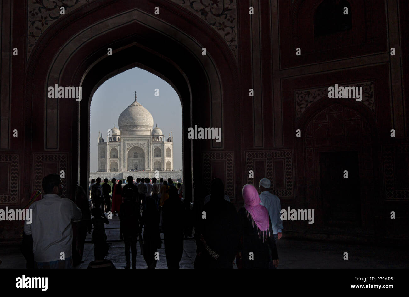 Visiting Taj Mahal, Agra, one of the wonder's of the world - Stock Image