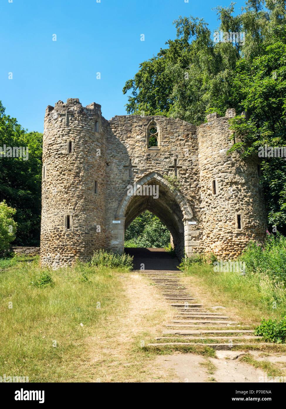 Sham Castle at Roundhay Park Roundhay Leeds West Yorkshire England - Stock Image
