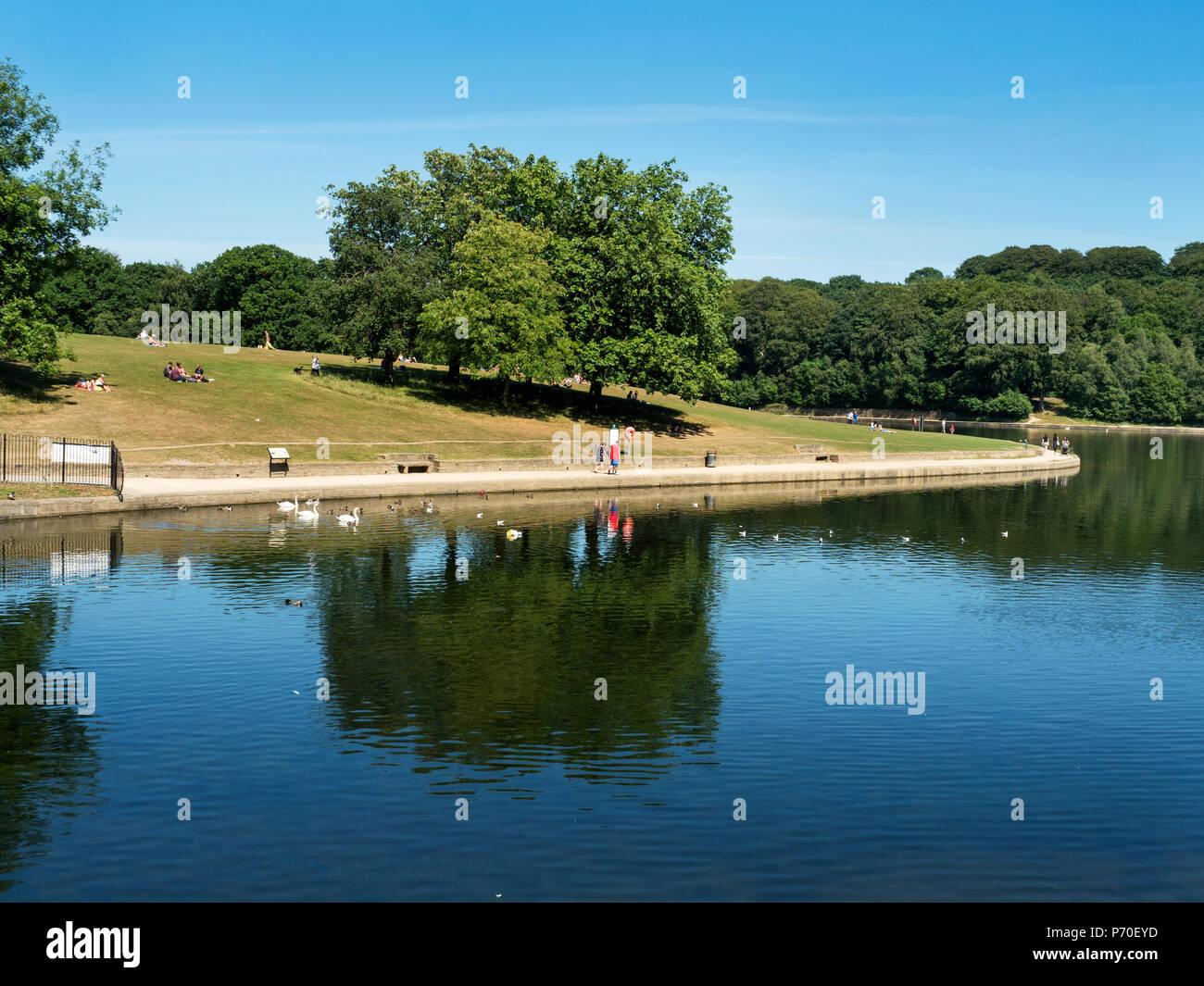 Waterloo Lake at Roundhay Park Roundhay Leeds West Yorkshire England Stock Photo