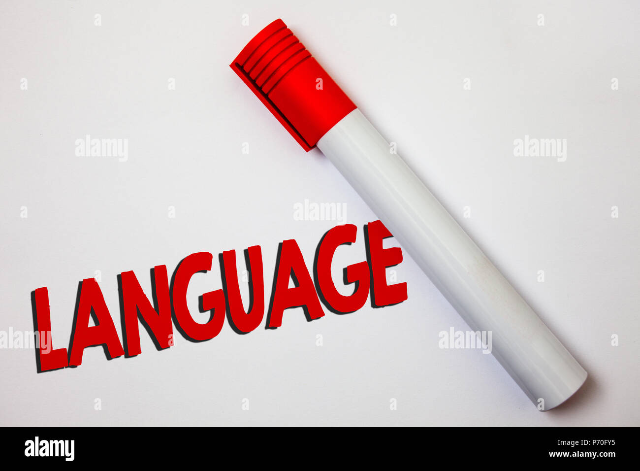 Writing note showing Language. Business photo showcasing Method of human communication Spoken Written Use Words Expression Bold board pen red ink mark - Stock Image