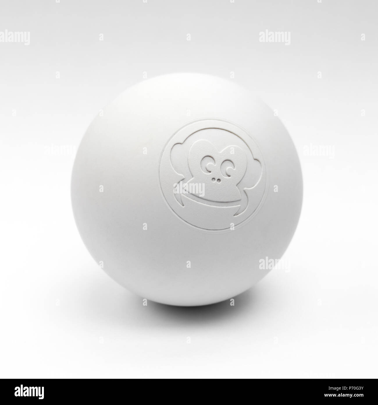 Captain-Lax white Lacrosse ball on white background - Stock Image