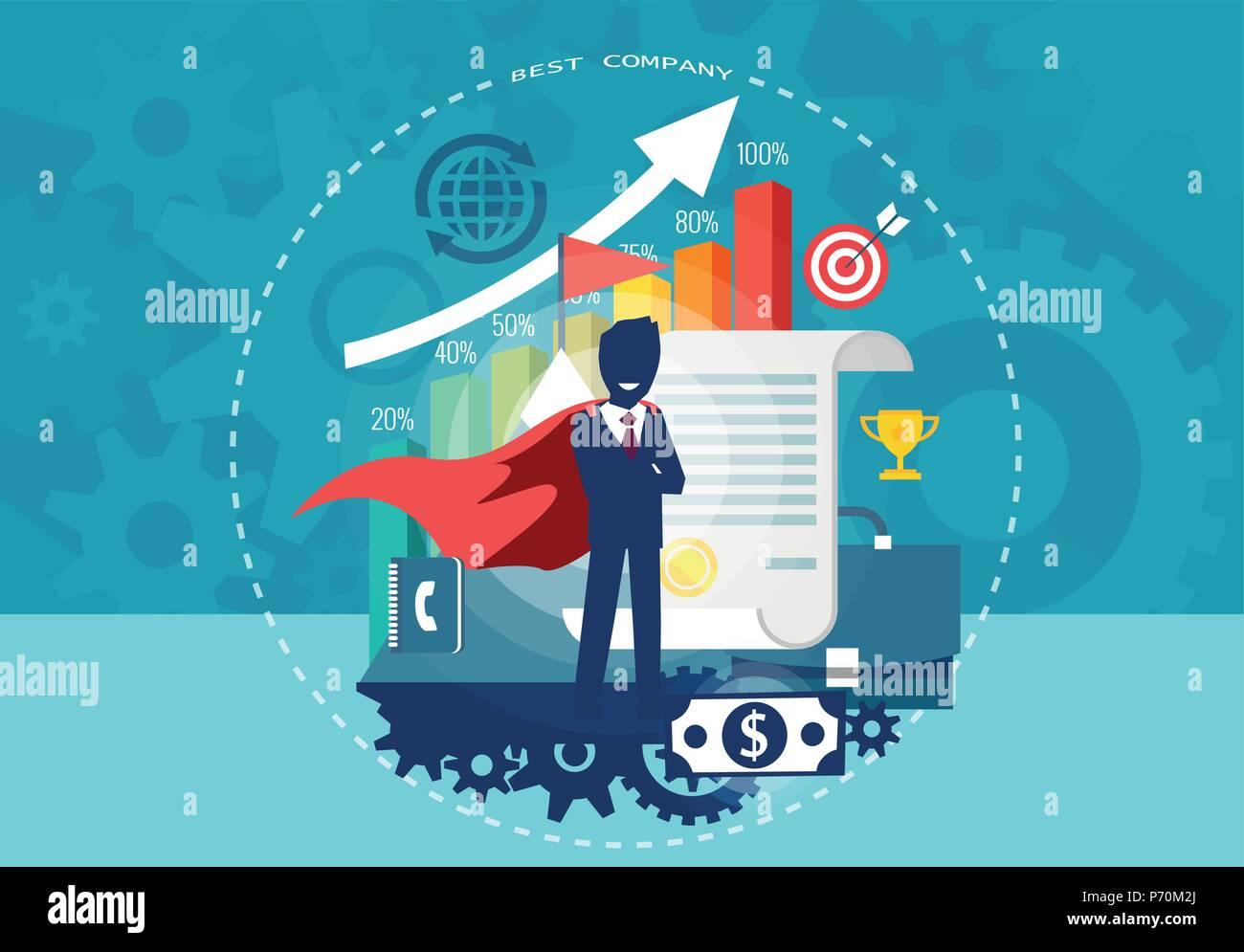 Character cartoon of super hero businessman with successful financial career. Flat design. - Stock Vector