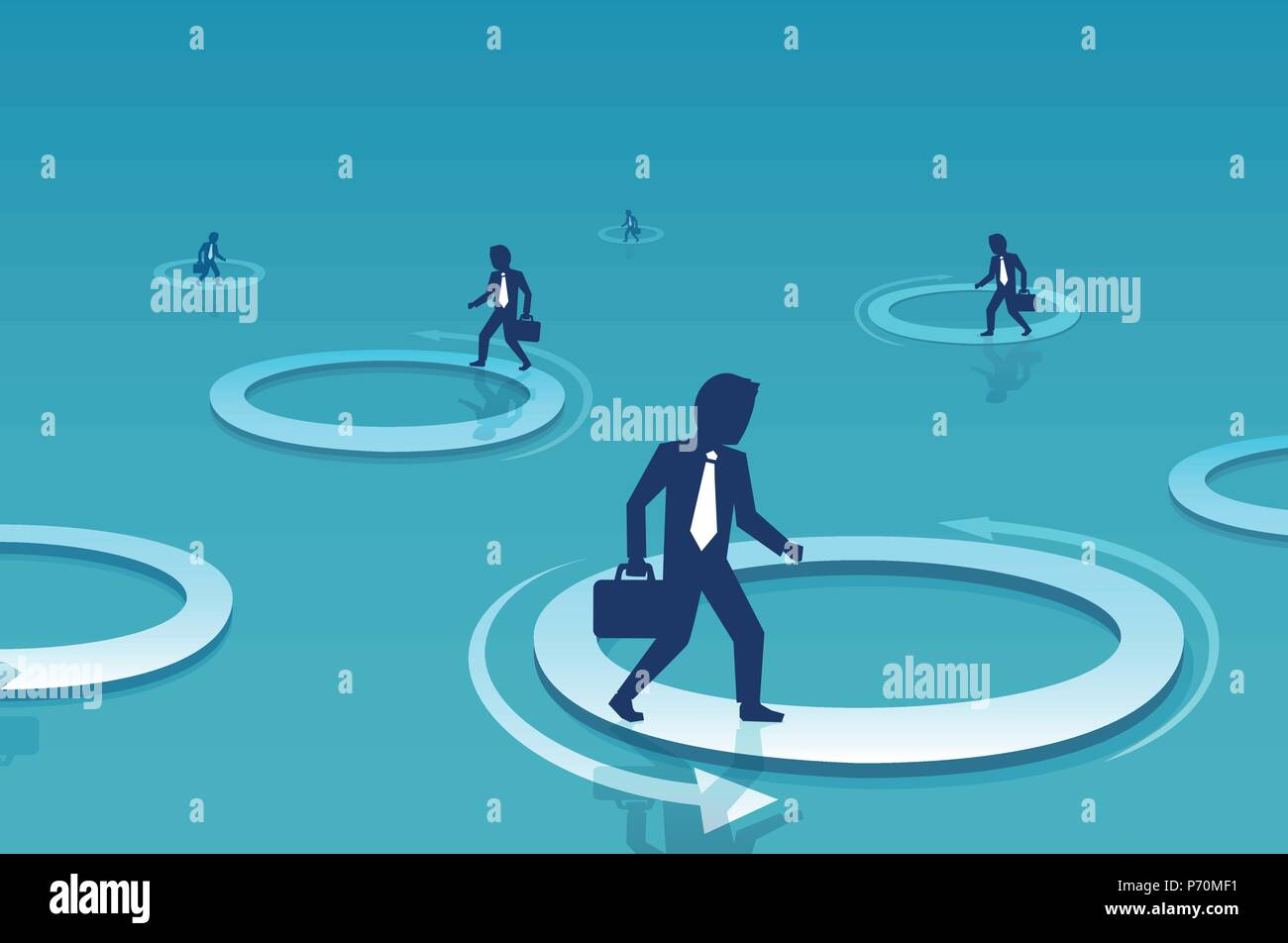 Vector of a businessman walking inside circle. Business challenge and difficulty concept - Stock Vector