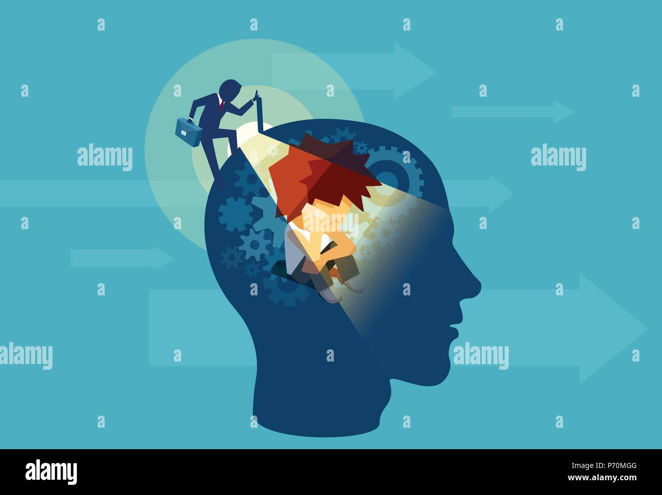 Vector of an business adult man opening a human head with a child subconscious mind sitting inside - Stock Image