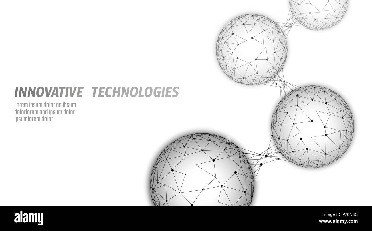 Abstract low poly biological connected cell. Connection world communication technology polygonal. Blue business science concept. Wireframe mesh geometric render white gray vector illustration - Stock Image