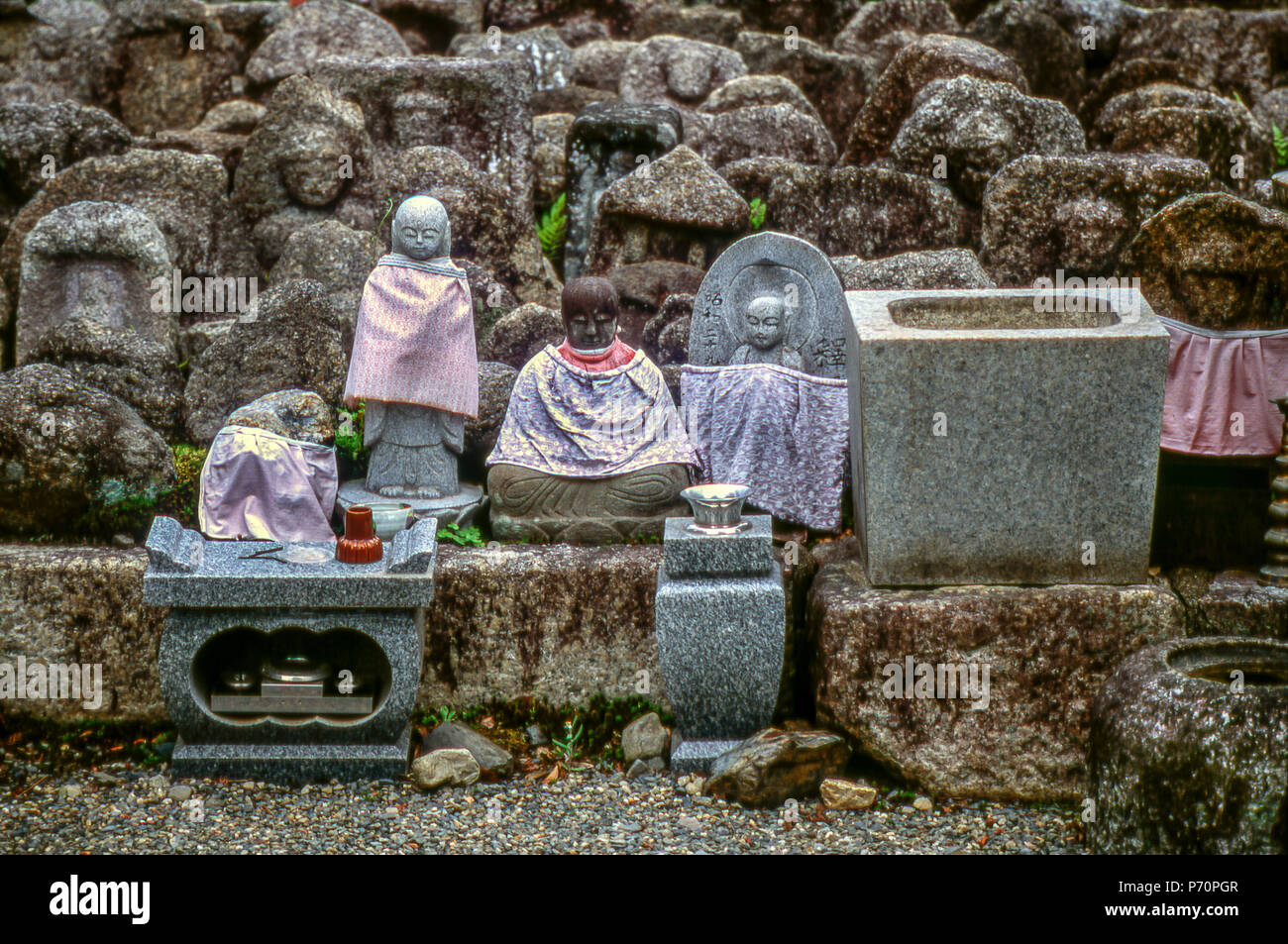 Small stone statues at Daitoku-ji temple, Kyoto, Japan - Stock Image