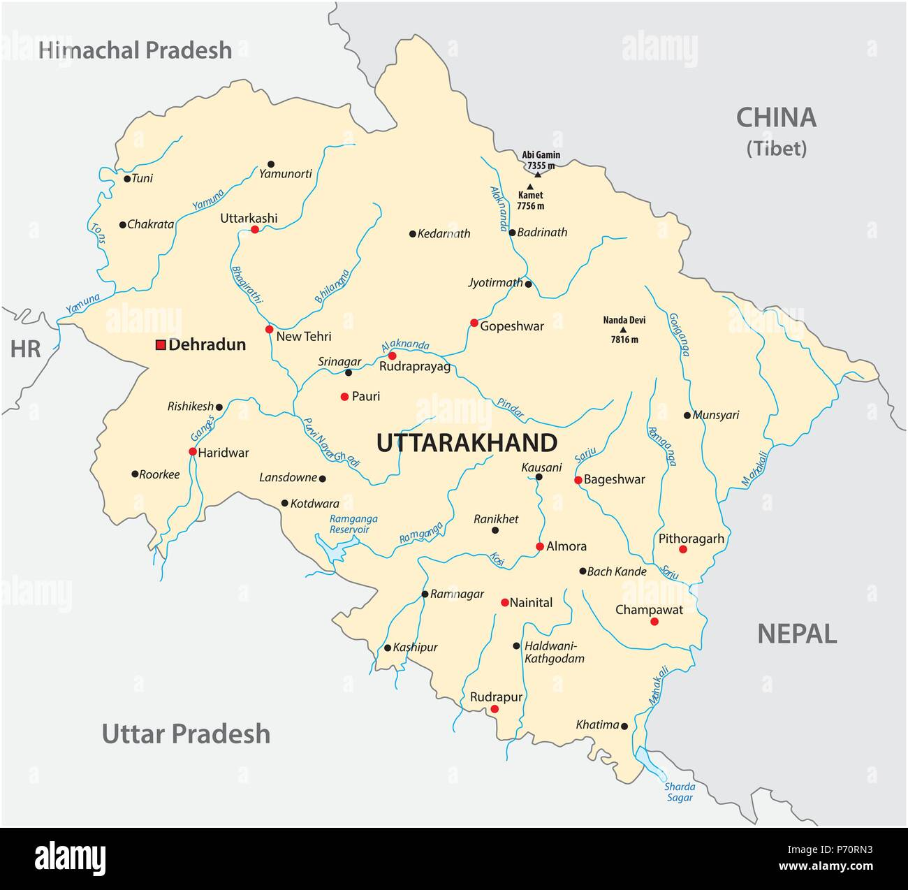 Vector map of the north Indian state of Uttarakhand, India - Stock Vector