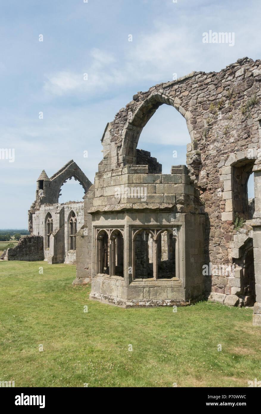 English Heritage site Haughmond Abbey ruins on the outskirts of Shrewsbury, Shropshire, July 2018 - Stock Image