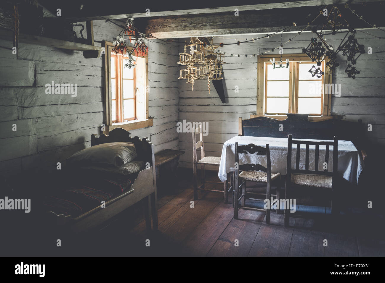 The interior of an old living room. Ethnographic Open-Air Museum, Latvia, Riga, 13.05.2018 - Stock Image