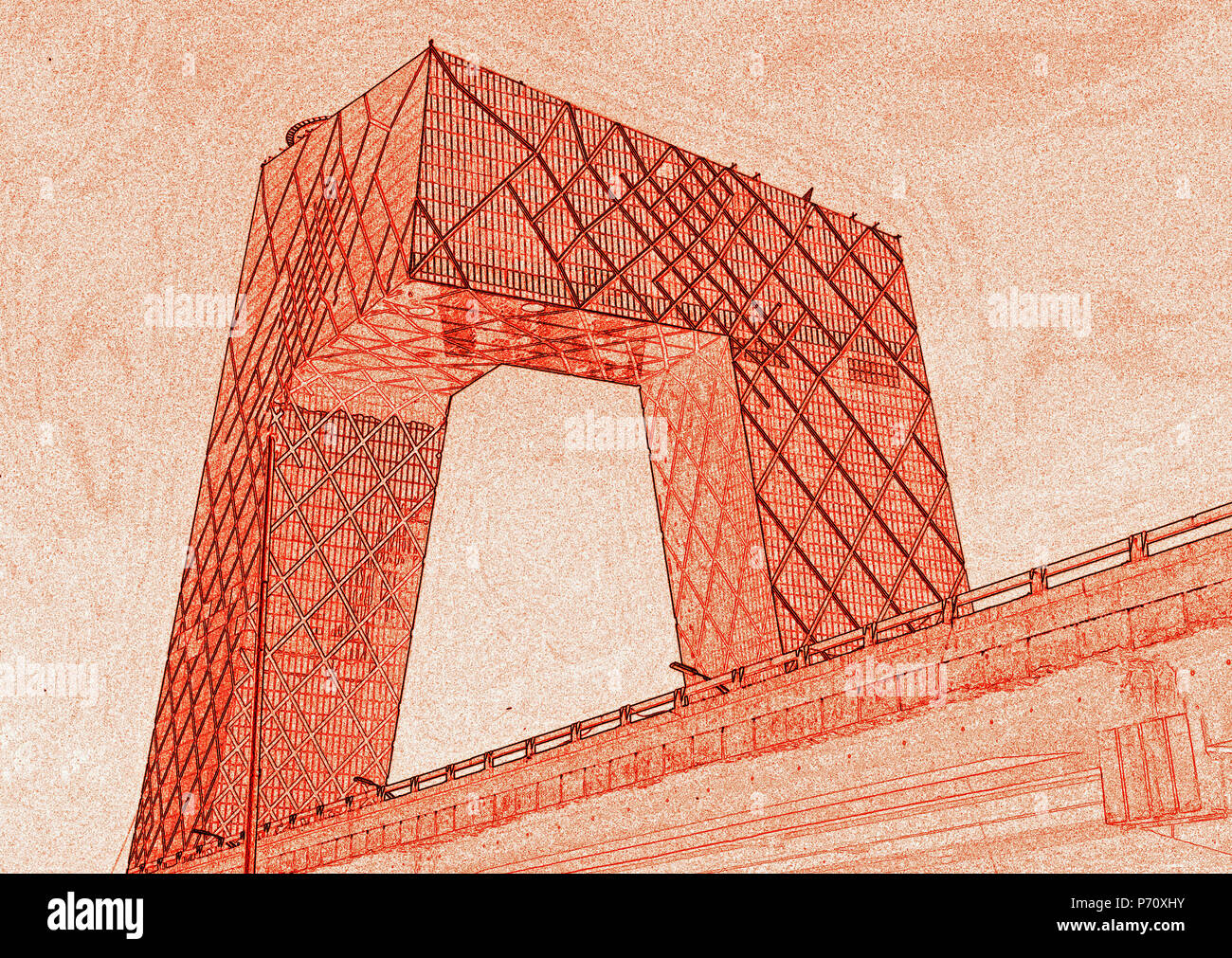 CCTV ( China Central Television) headquarters tower, by architects Rem Koolhaas and Ole Scheeren of OMA, East Third Ring Road, Beijing - Stock Image