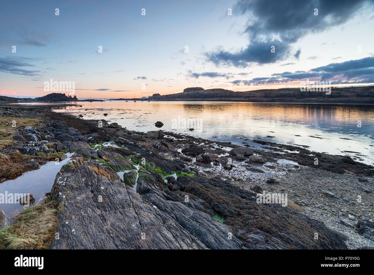 Sunset over Loch Linnhe,  a sea loch on the west coast of Scotland - Stock Image