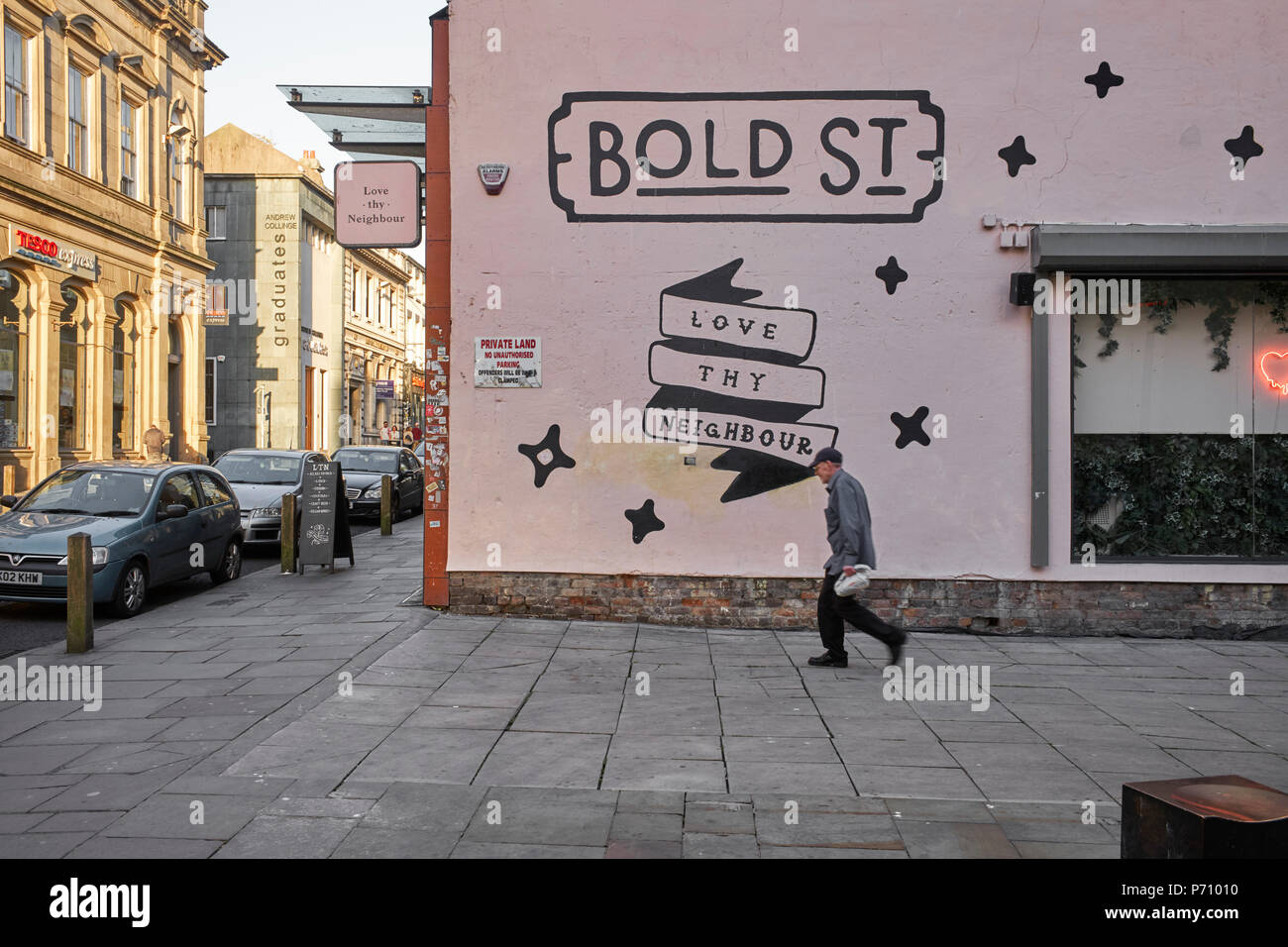 Side of Love thy neighbour bar, cafe and restaurant in Bold Street, Liverpool - Stock Image